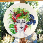 Fornasetti Portrait painting with Tui and Fantail  - Outdoor Garden Art Panel