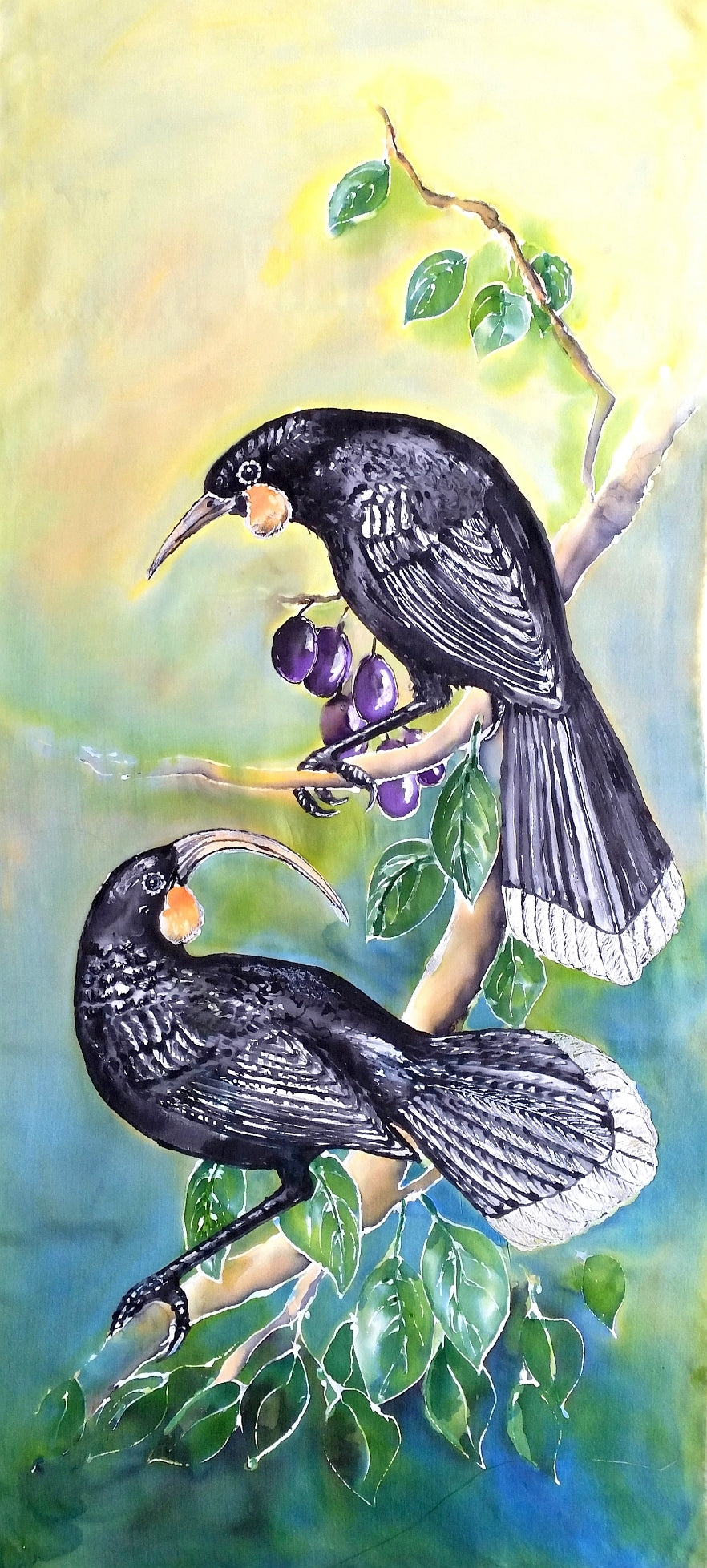 Huia, NZ extinct Bird - Outdoor Garden Art Panel - Satherley Silks NZ