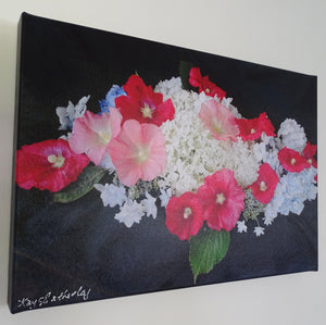 Original Photo on Canvas - Hydrangeas and Hollyhock flowers