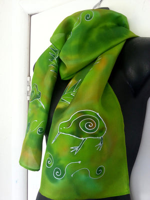 New Zealand Kiwi Bird Green - Hand painted Silk Scarf