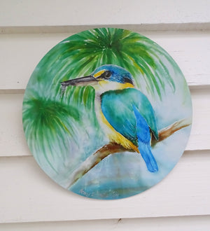 Kingfisher on Pond - Outdoor Garden Art Panel - Satherley Silks NZ