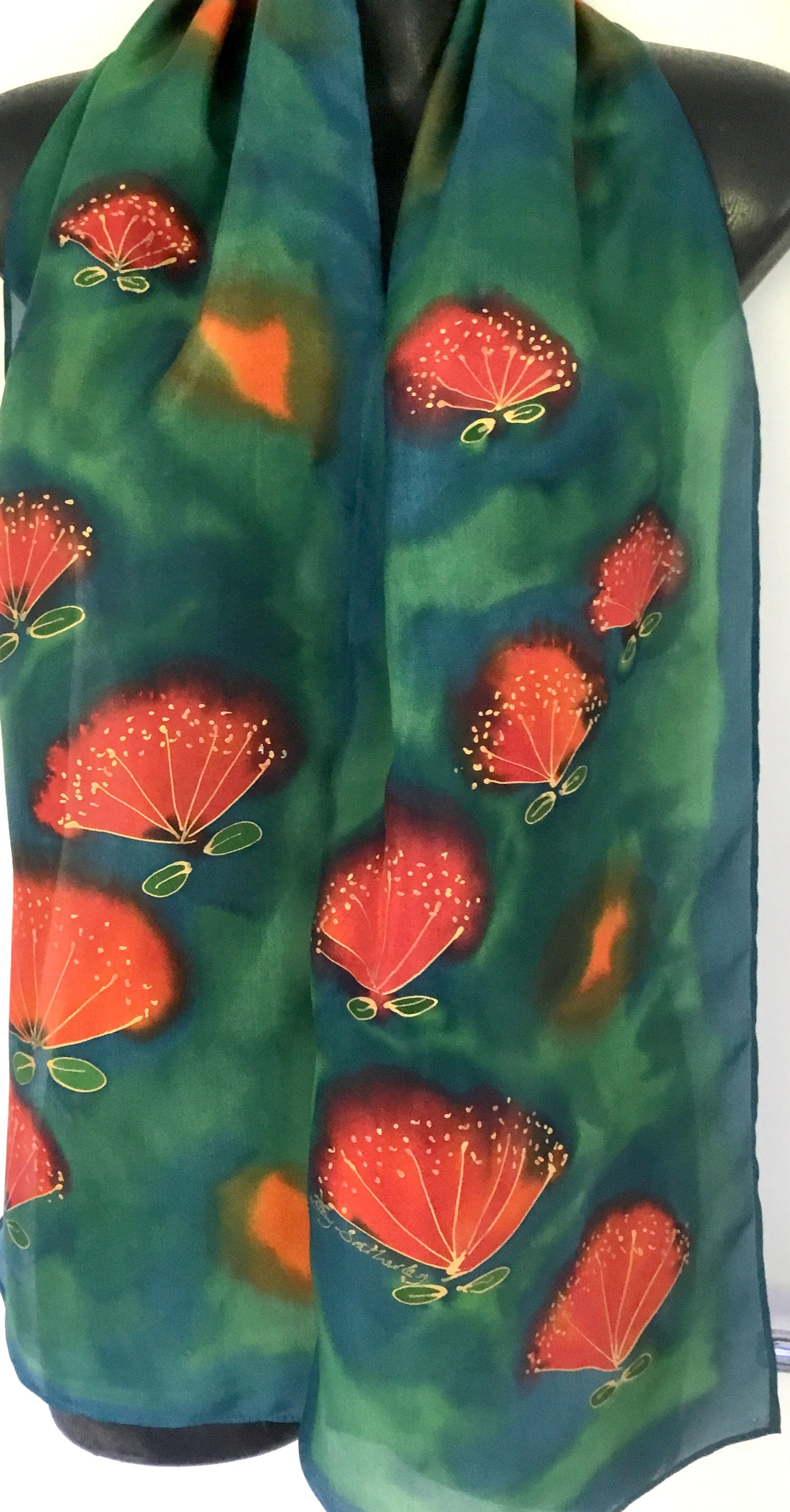 Pohutukawas on Green -  Hand painted Silk Scarf