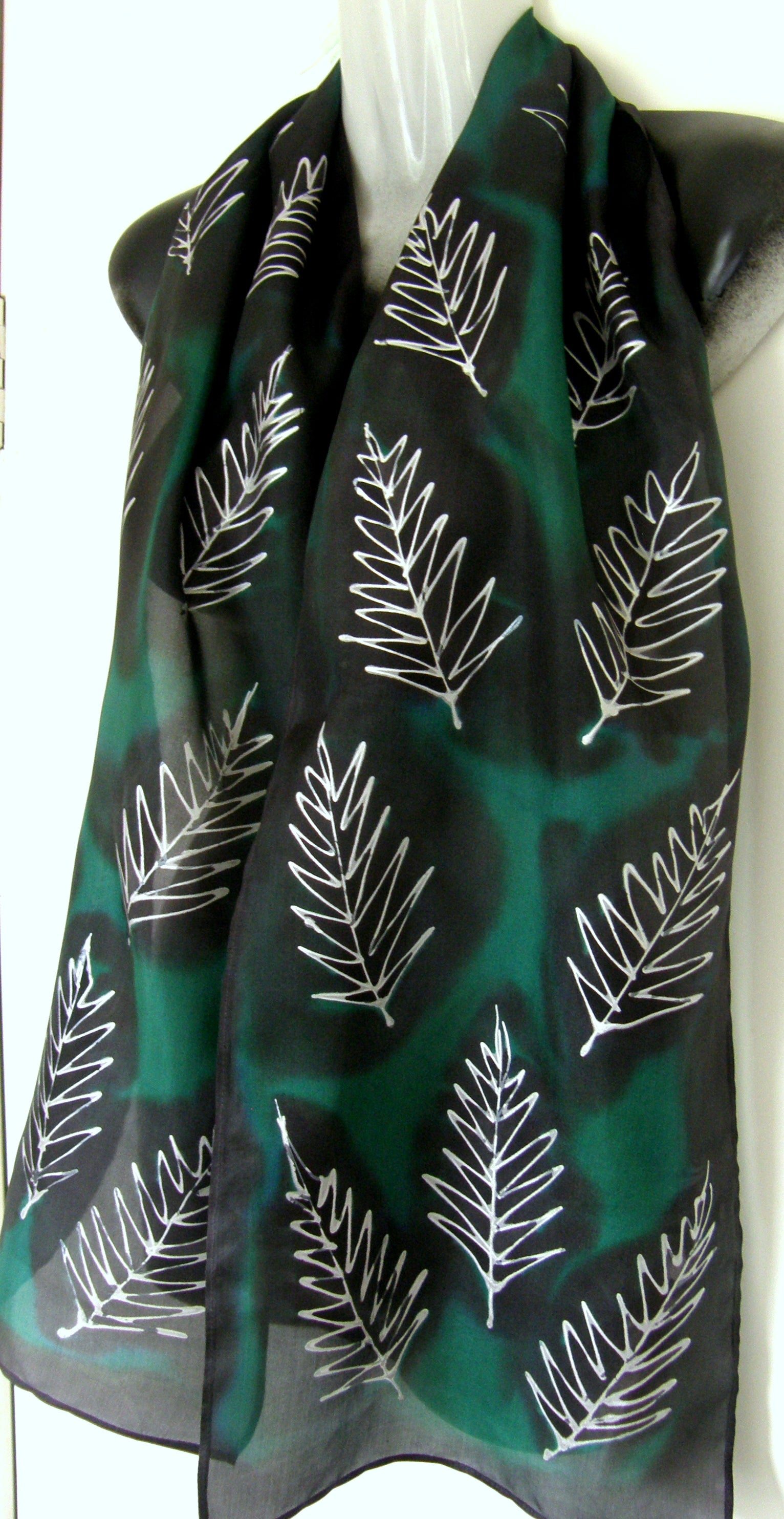 Silver Ferns in Green & Black - Hand Painted Silk Scarf - Satherley Silks NZ