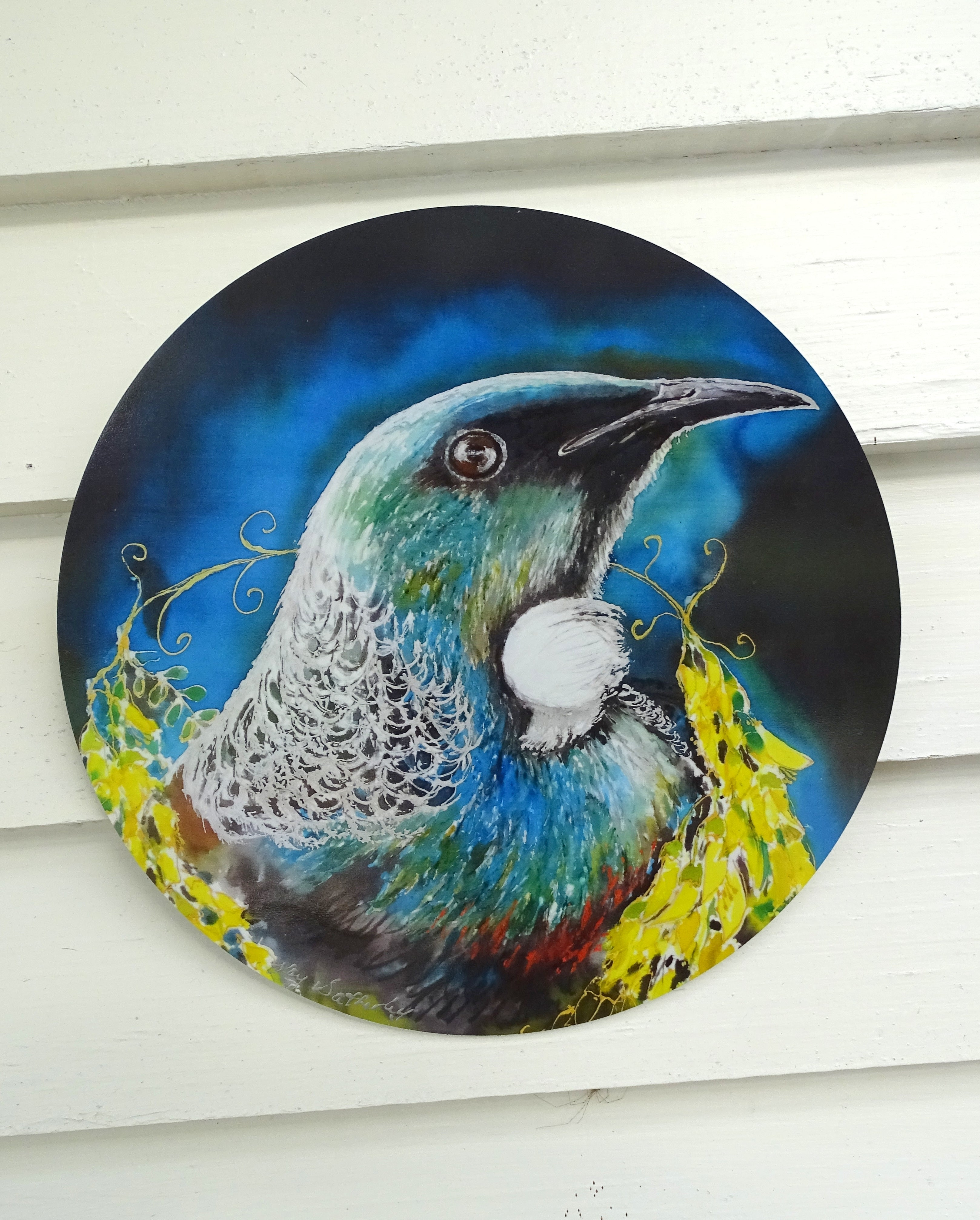 Tui Portrait, with Kowhai Necklace - Outdoor Garden Art Panel - Satherley Silks NZ