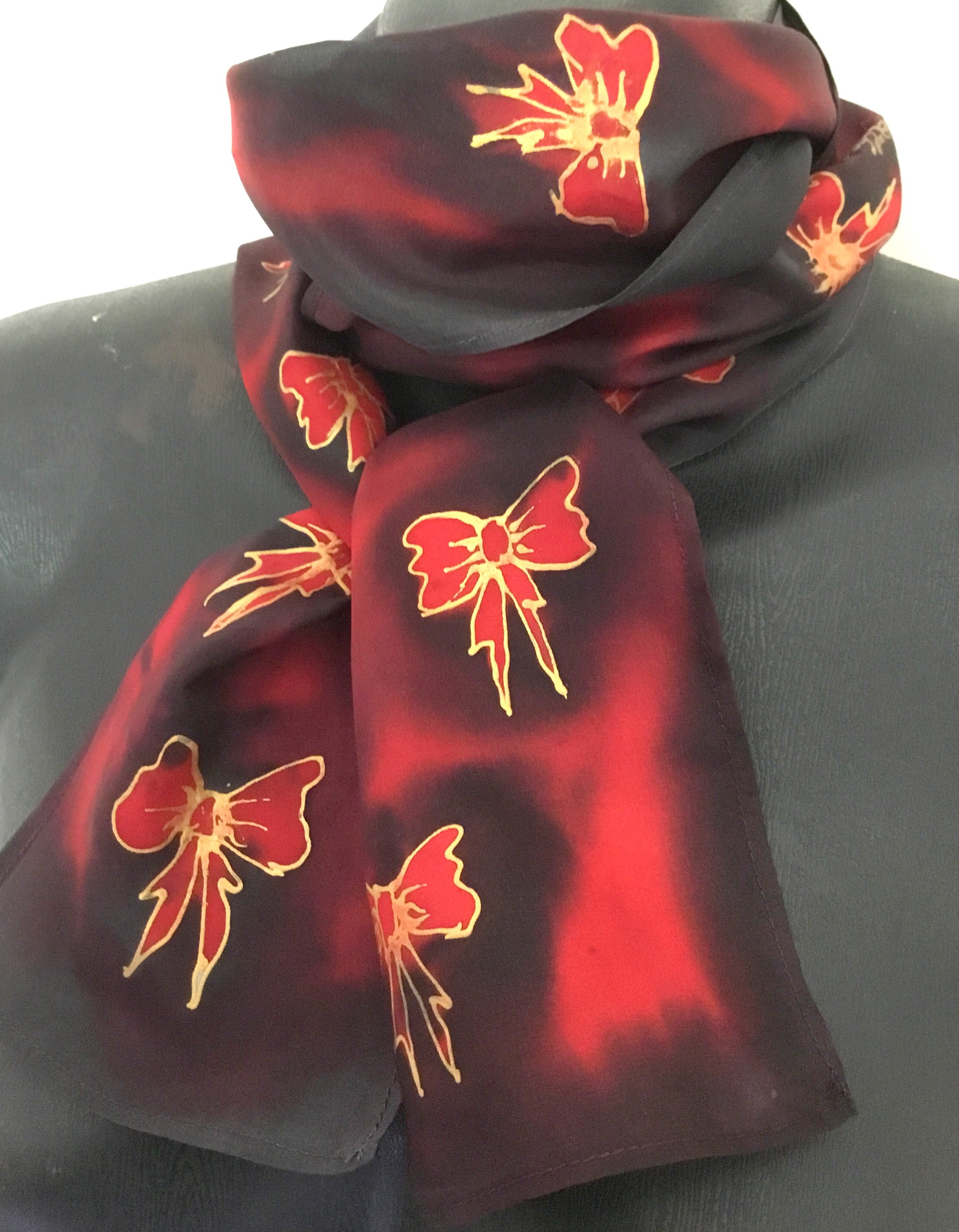 Bows Skinny - Hand painted Silk Scarf - Satherley Silks NZ
