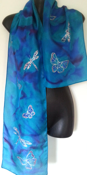 Butterflies & Dragonflies - Hand painted Silk Scarf - Satherley Silks NZ