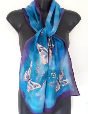 Butterflies in Gold on Blue and Purple - Hand painted Silk Scarf - Satherley Silks NZ