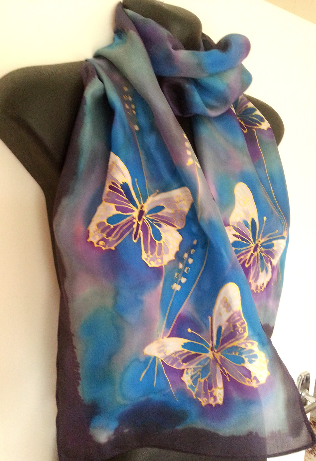 Gold Filigree Butterfly Hand Painted Silk Scarf - Satherley Silks NZ