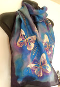 Gold Filigree Butterfly - Hand painted Silk Scarf - Satherley Silks NZ