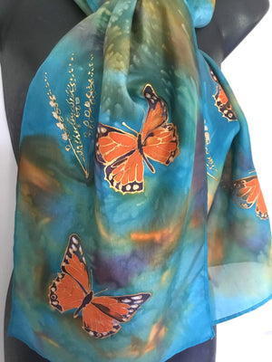 Monarch Butterflies - Hand painted Silk Scarf - Satherley Silks NZ