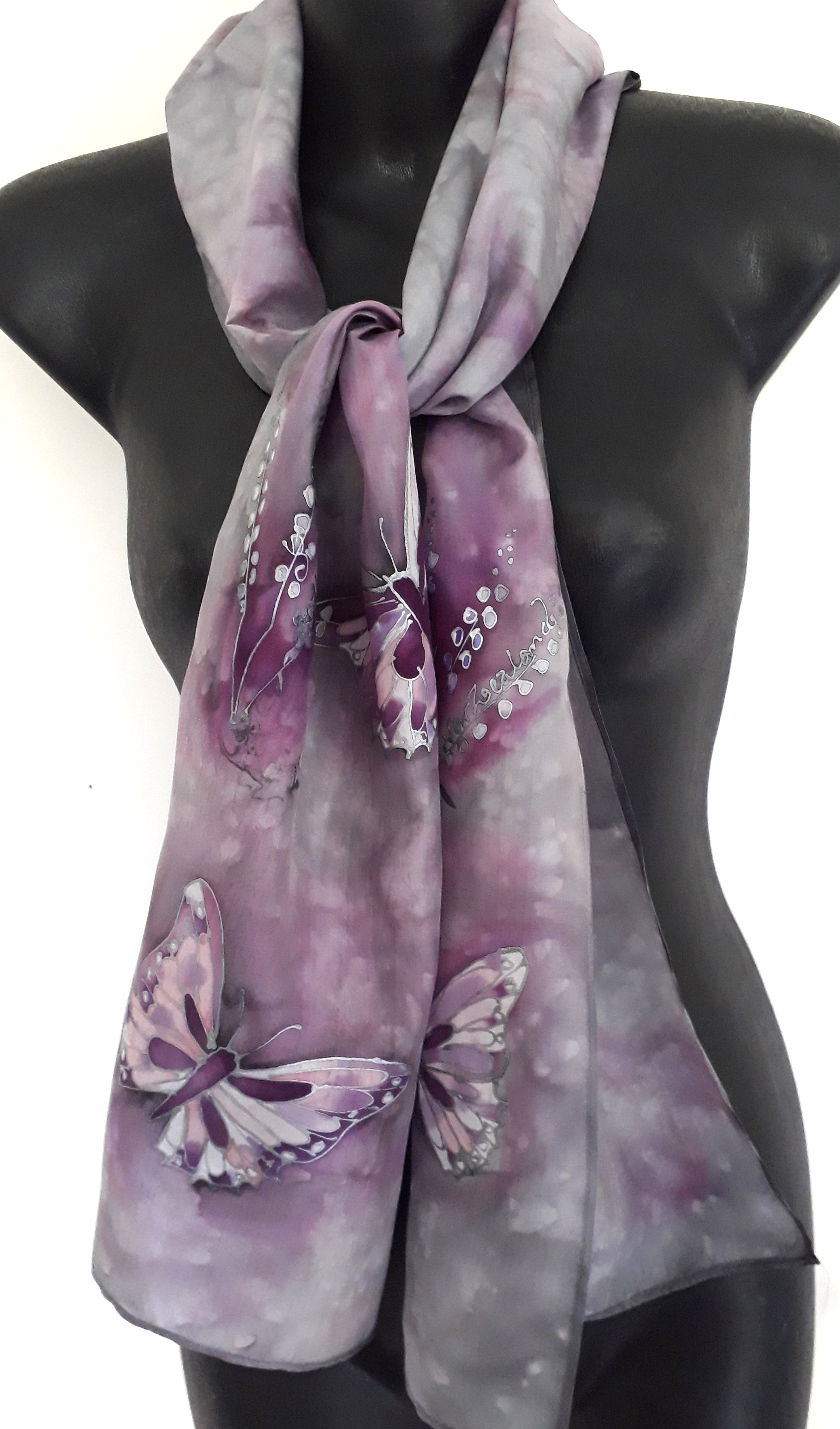 Butterfly Silver, Dusky Purple- Hand Painted  Silk Scarf - Satherley Silks NZ