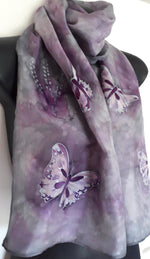 Butterflies in Silver and Purple - Hand painted Silk Scarf