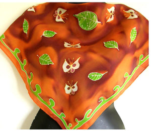 Butterfly square - Hand painted Silk Scarf - Satherley Silks NZ