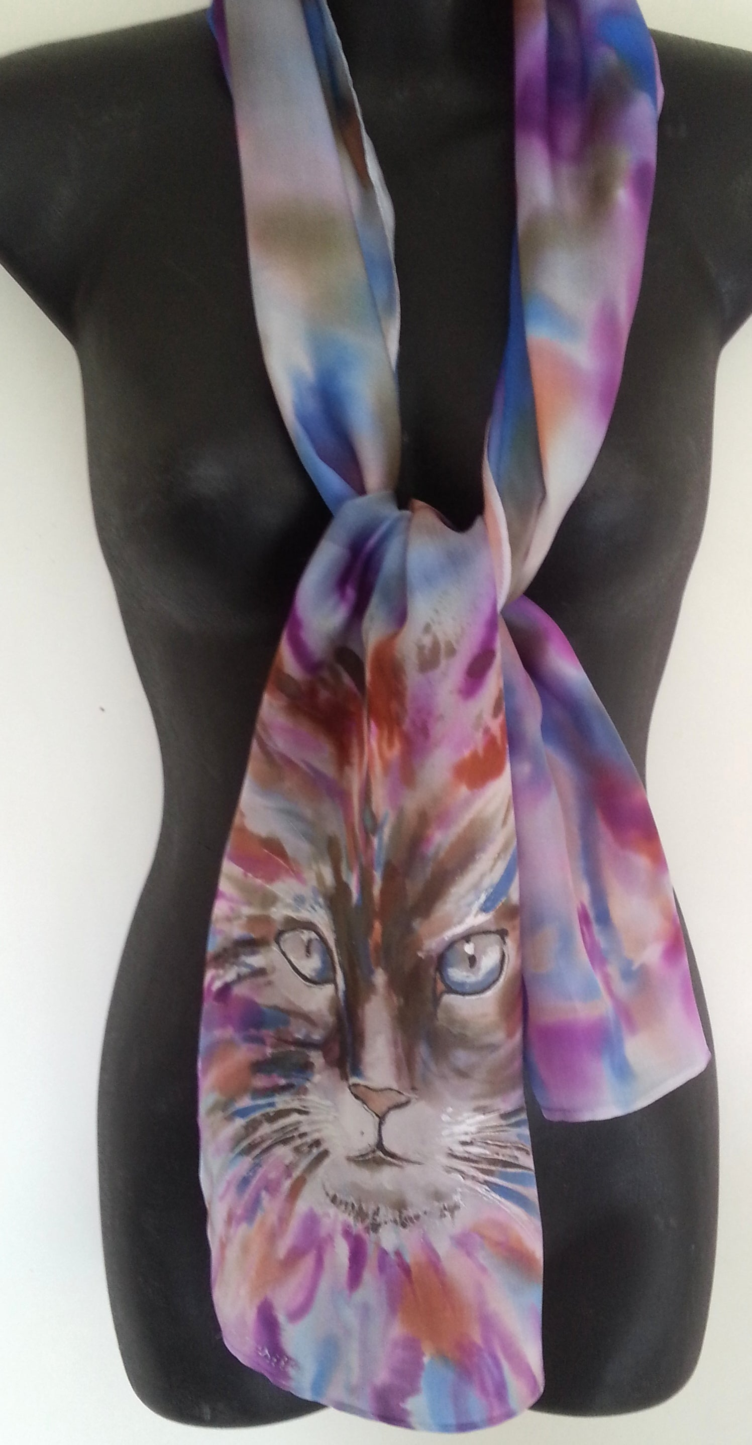 Tabby Cat Face  Hand Painted Silk scarf - Satherley Silks NZ