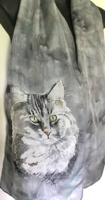 Silver Grey Cat Pet Portrait - Hand painted Silk Scarf - Satherley Silks NZ