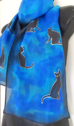 Blue, Aqua and black Cats -  Animal Hand painted Silk Scarf