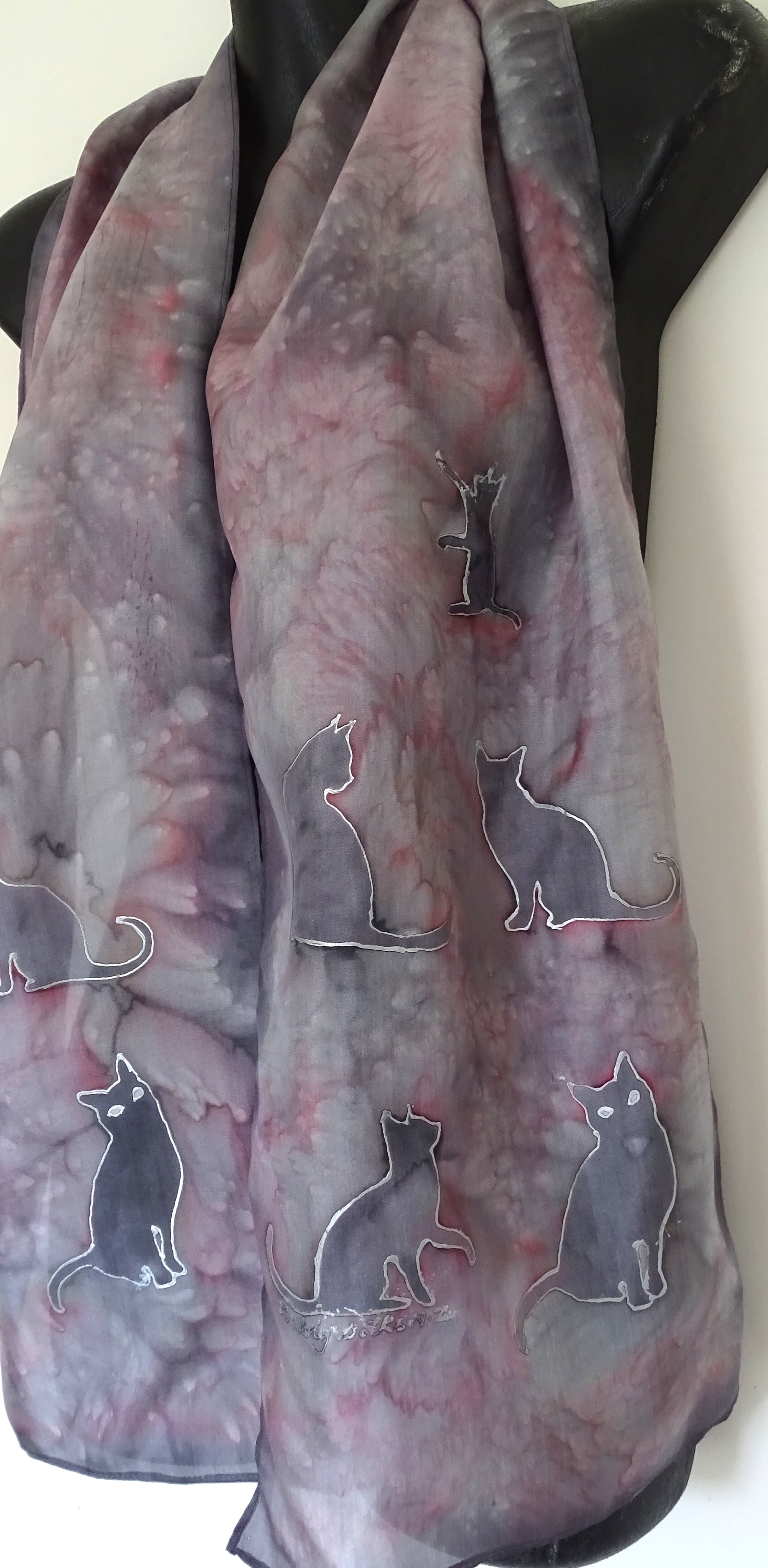 Silver/ Grey Cats  - Animal Hand painted Silk Scarf
