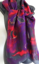 Cats scarf Red, Purple and Black -  Hand painted Silk Scarf