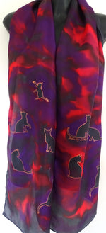 Cats scarf Red, Purple and Black -  Animal Hand painted Silk Scarf