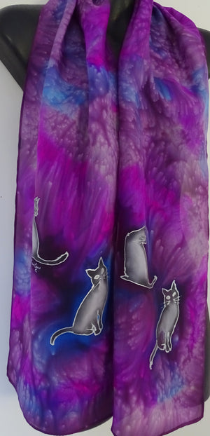 Cats on Purple and Cerise -  Animal Hand painted Silk Scarf