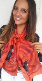 New Zealand Tui Bird on Burnt Orange  - Hand painted Silk Scarf - Satherley Silks NZ