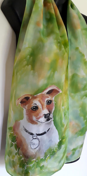 Fox Terrier, a dog Pet Portrait - Hand painted Silk Scarf - Satherley Silks NZ