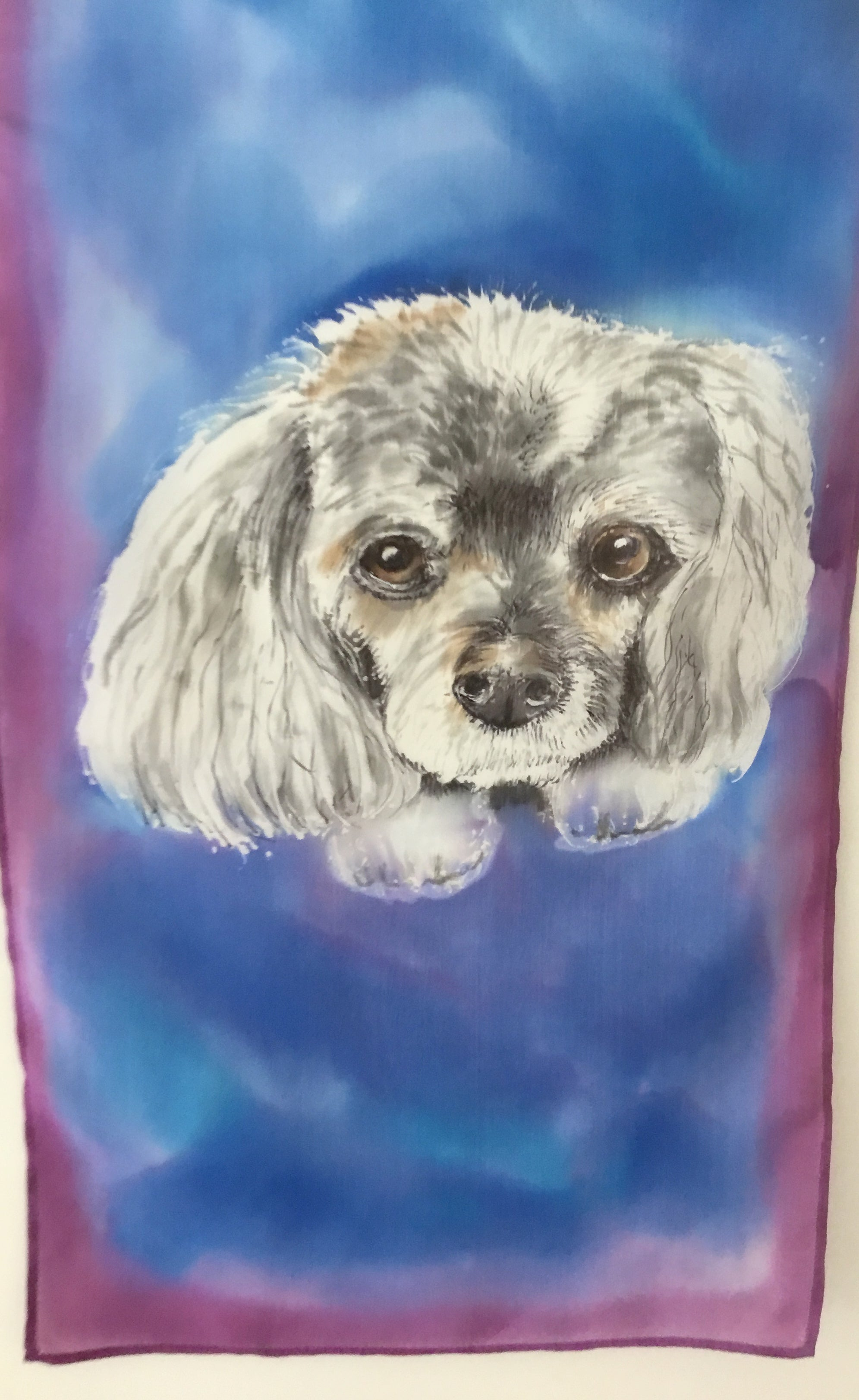 Dog Pet Portrait - Hand painted Silk Scarf