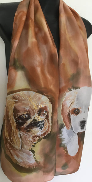Two Cavalier King Charles Spaniels, a dog  Pet Portrait Silk Scarf - Satherley Silks NZ