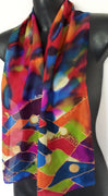 Rainbow Jazz coloured Handpainted Silk Scarf - Satherley Silks NZ