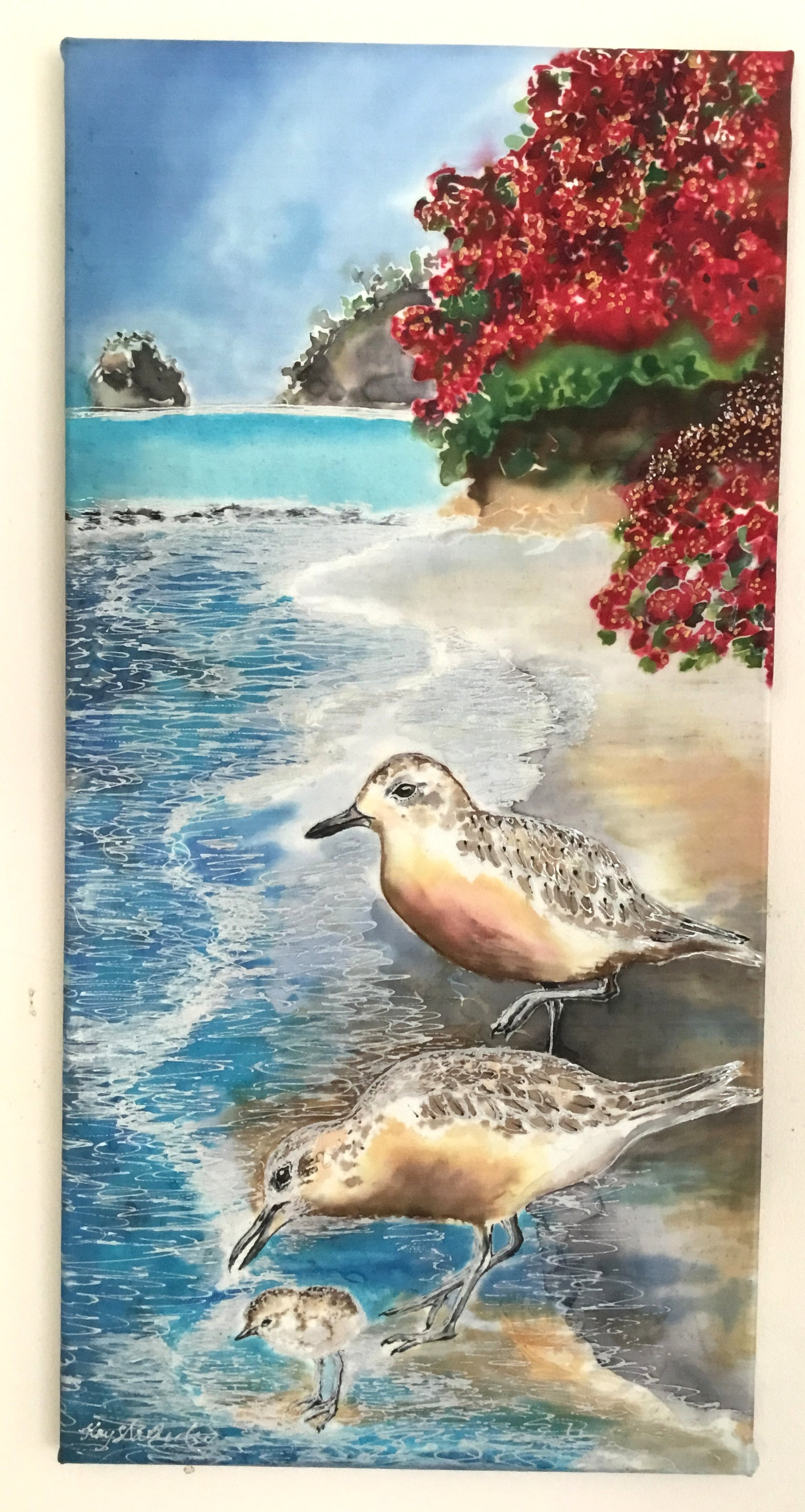 Original Silk Painting - Dotterels and Chick. SOLD