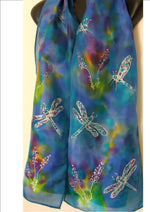 Dragonflies on Aqua & Purple - Hand painted  Silk Scarf - Satherley Silks NZ