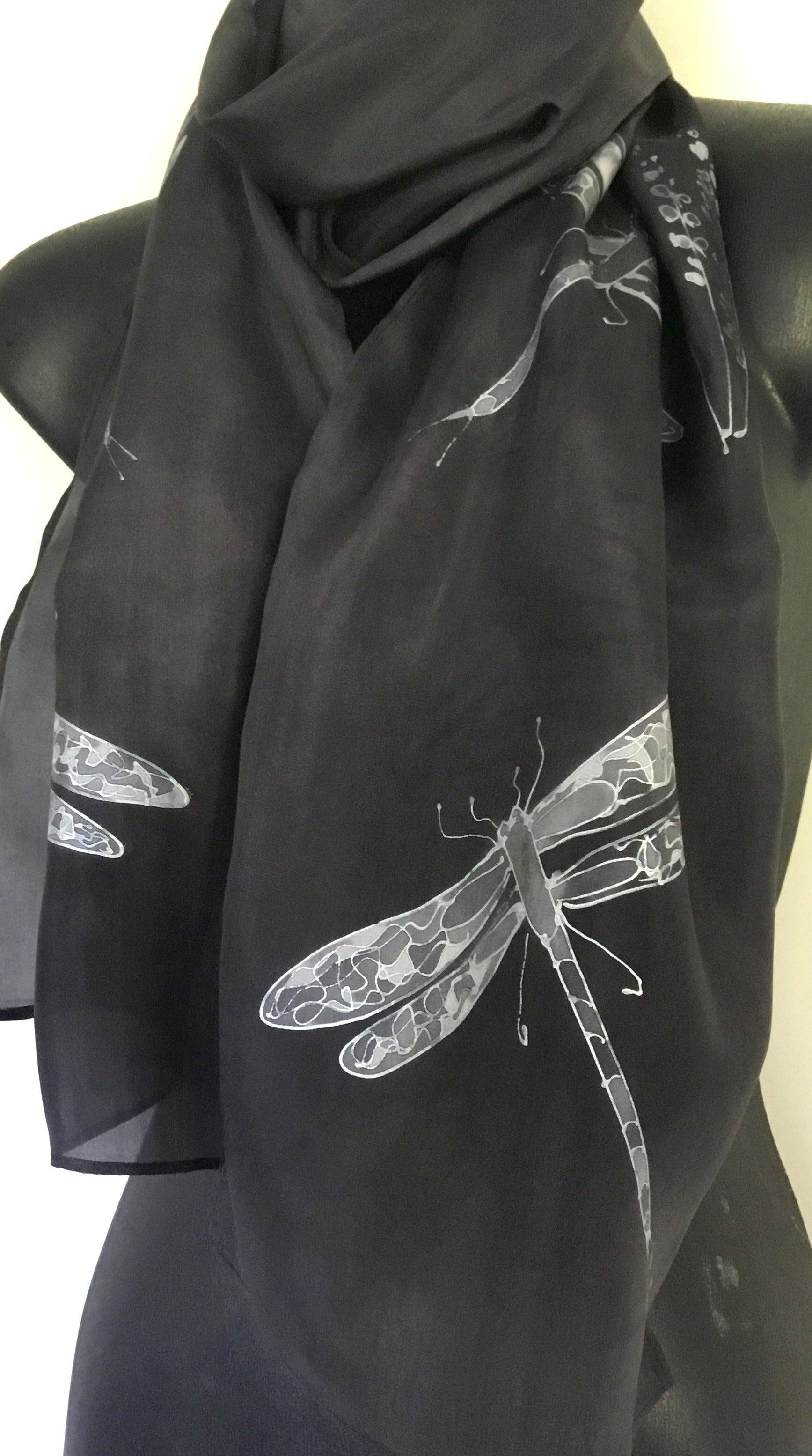 Dragonflies Black - Hand painted Silk Scarf