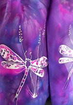 Dragonflies on Purple & Blue - Hand Painted Silk Scarf - Satherley Silks NZ