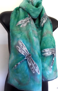 Dragonflies Mint and Sea Green - Hand painted Silk Scarf - Satherley Silks NZ