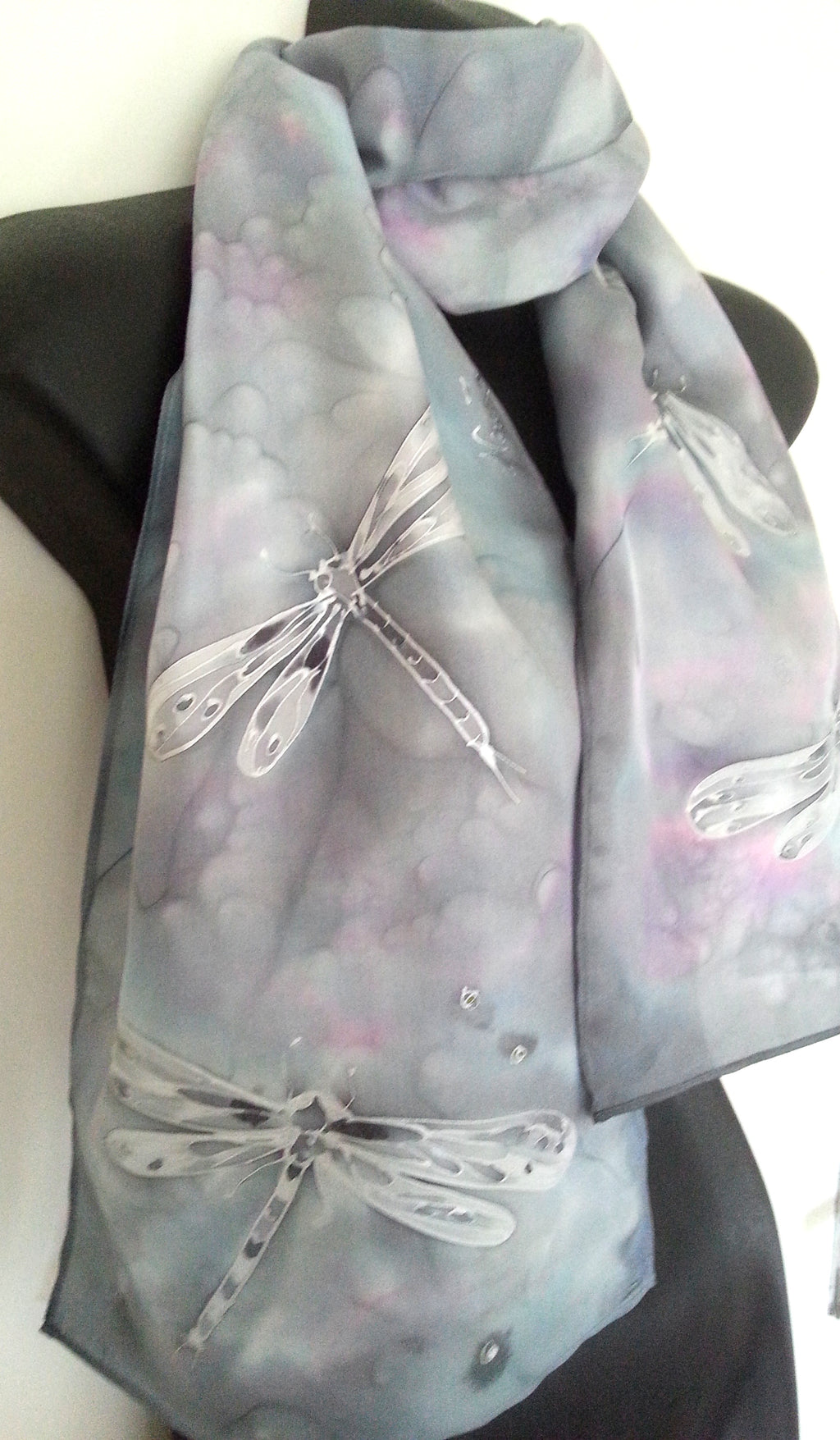Dragonflies Silver, Hand painted Silk Scarf - Satherley Silks NZ