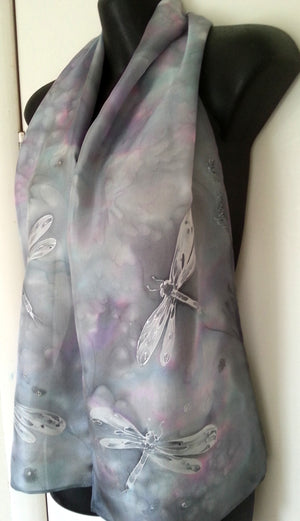 Dragonflies Silver- Hand painted Silk Scarf - Satherley Silks NZ