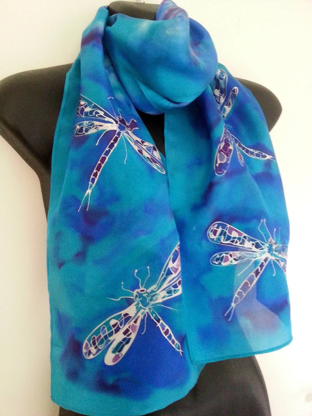 Dragonflies Turquoise - Hand painted Silk Scarf - Satherley Silks NZ
