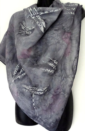 Dragonfly and Wildflowers Silver  Square - Hand painted Silk Scarf