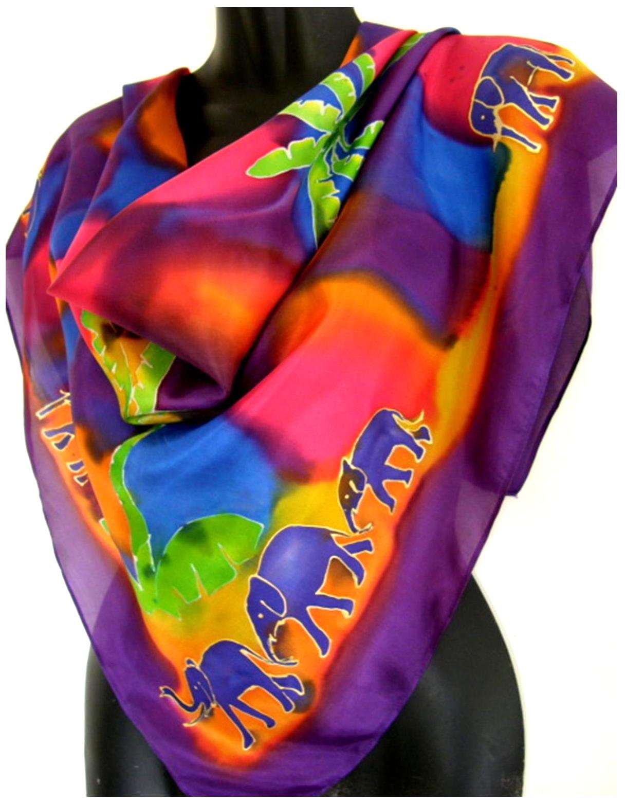 Elephant Jungle Square Silk Scarf - Satherley Silks NZ