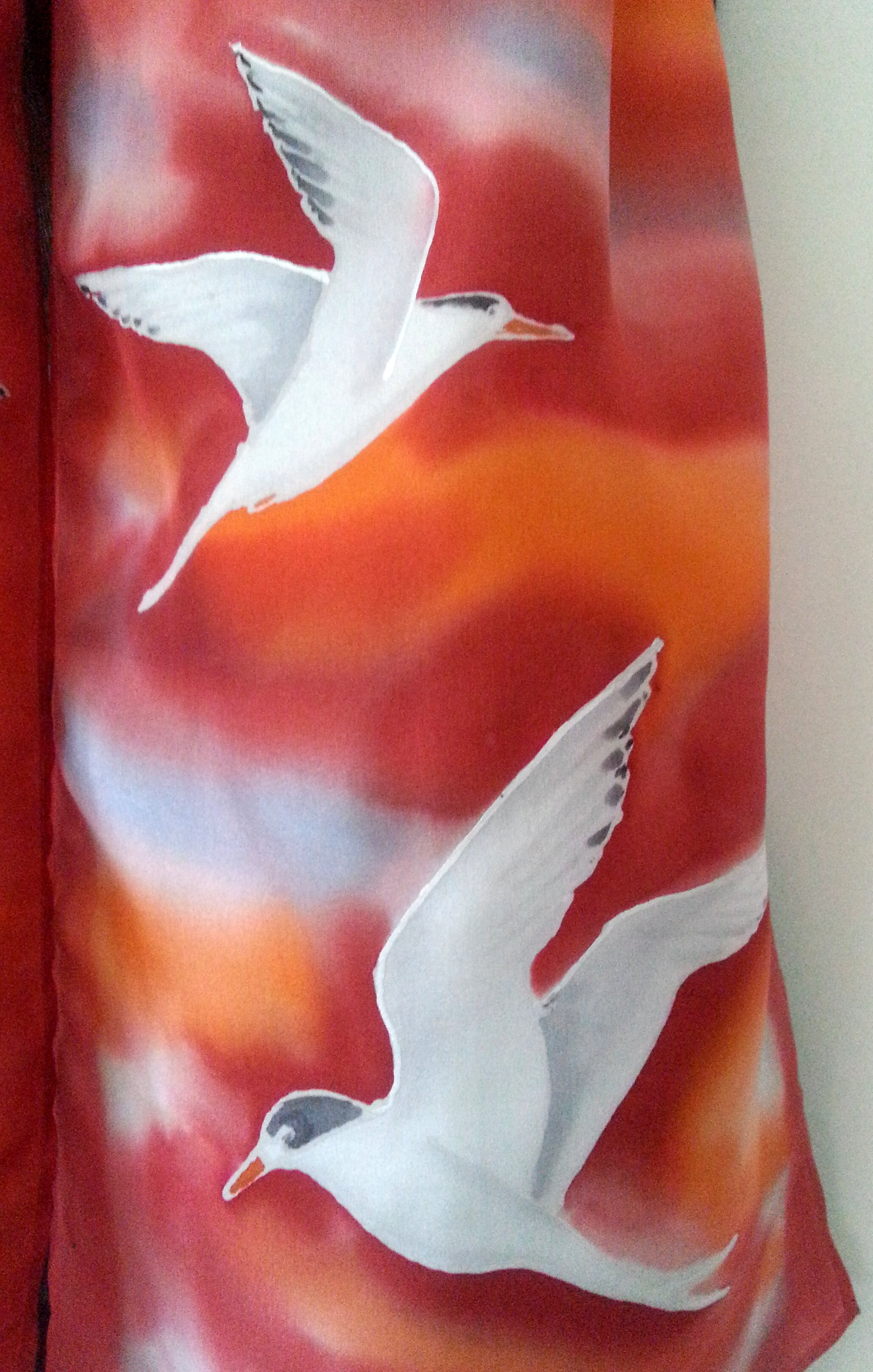 Fairy Tern NZ Sea Bird - Hand painted Silk Scarf - Satherley Silks NZ