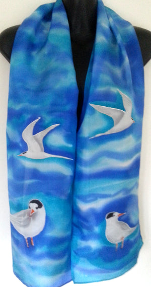 Fairy Tern on  Blue - hand painted Silk Scarf - Satherley Silks NZ