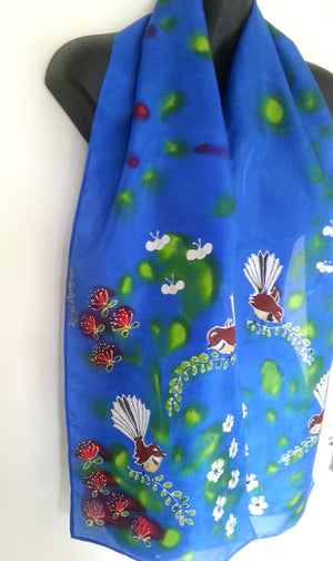 Fantail Garden, Manuka, Pohutukawa and Bees Silk Scarf - Satherley Silks NZ