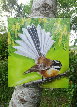 New Zealand Fantail Bird & Kowhai Flowers, Outdoor Art
