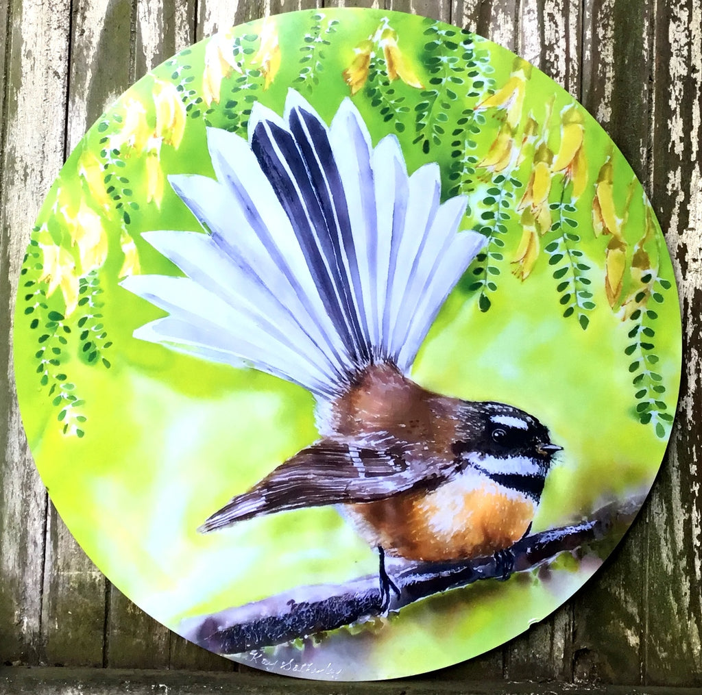 Fantail New Zealand Bird, Circle Outdoor Art Panel - Satherley Silks NZ