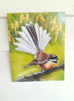 New Zealand Fantail Bird & Kowhai Flowers, Outdoor Art - Satherley Silks NZ