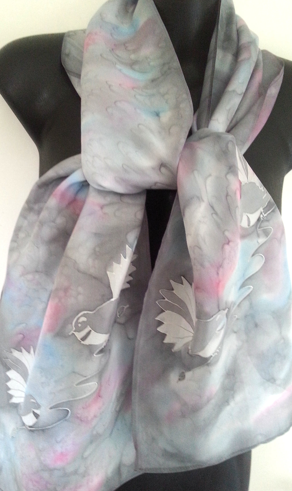 Fantail Silver Hand Painted Silk Scarf - Satherley Silks NZ