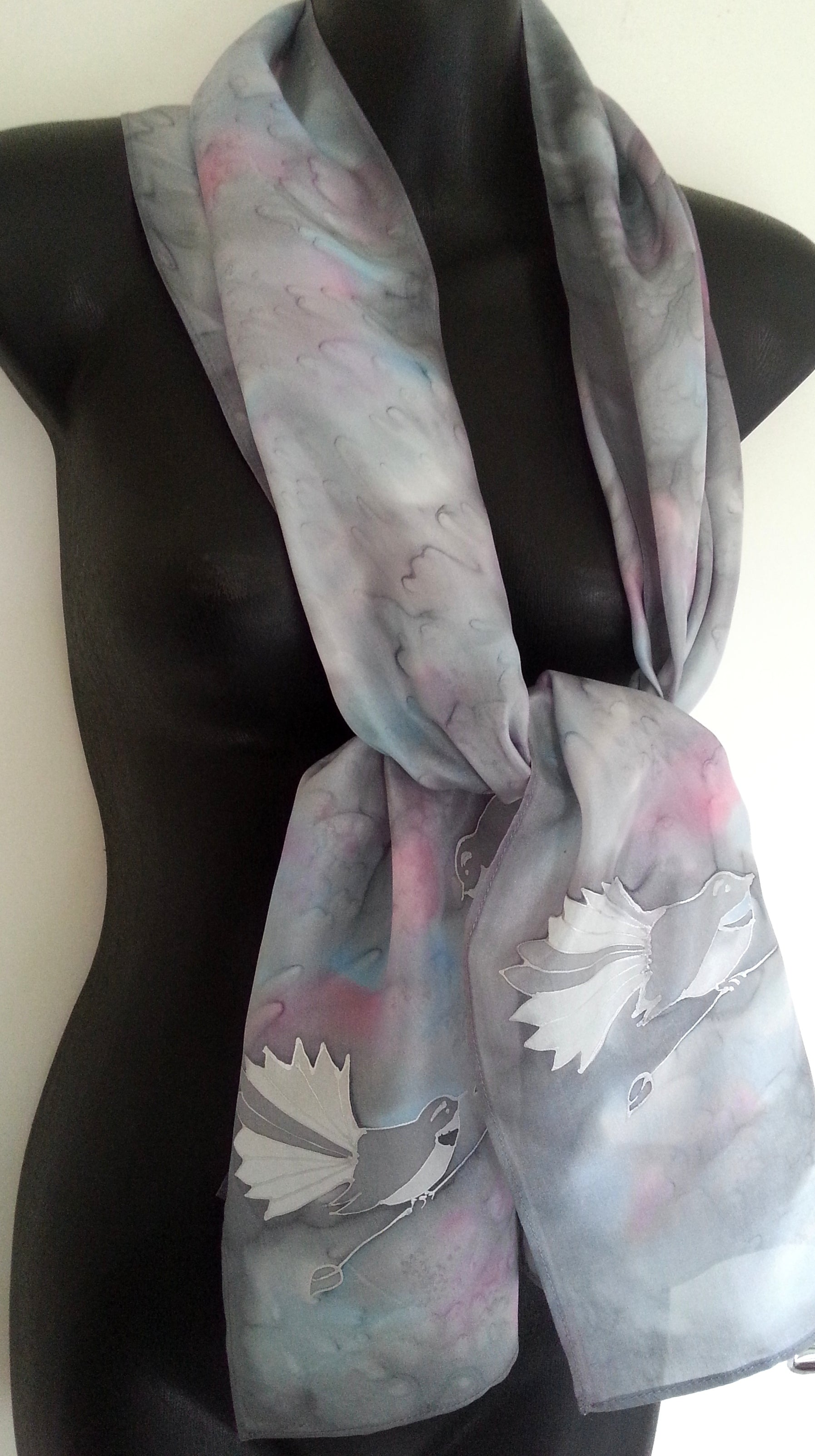 Fantail on Silver - Hand painted Silk Scarf - Satherley Silks NZ