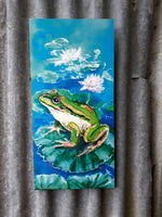 Frog on Lotus, Outdoor Wall Art - Satherley Silks NZ