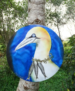 Gannet with Fish Necklace - Outdoor Garden Art Panel - Satherley Silks NZ