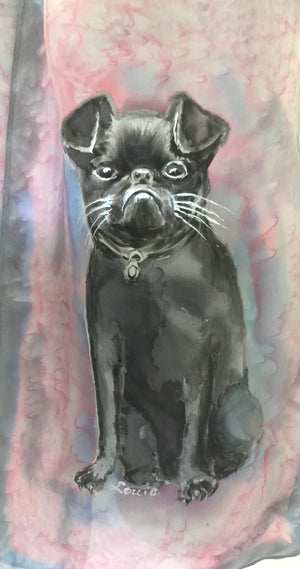 Griffin dog Pet Portrait - Hand painted Silk Scarf - Satherley Silks NZ